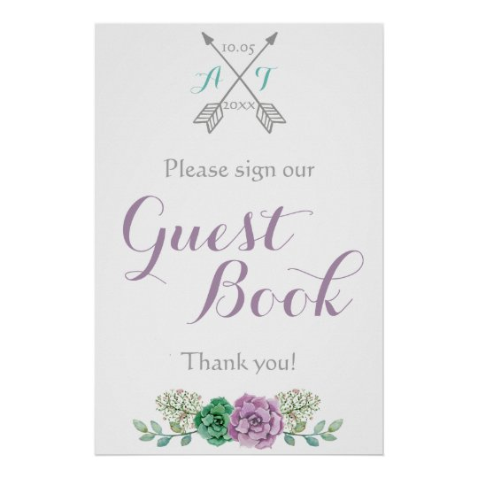 Sign our Guest Book signage bothanical flower