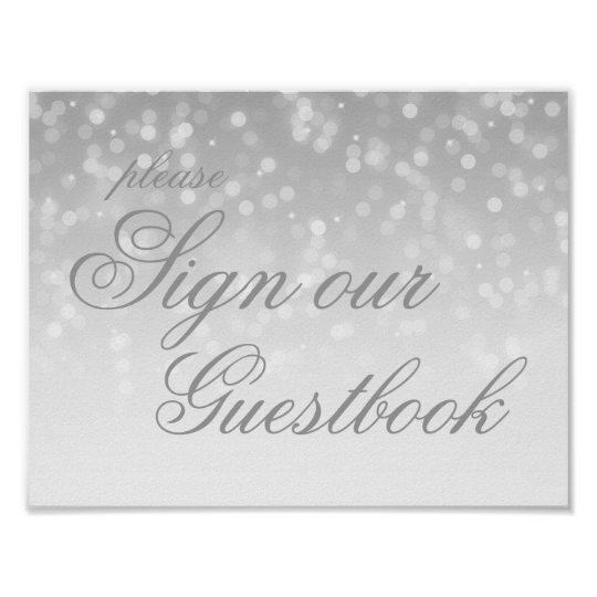 Sign Our Wedding Guestbook Silver Bokeh Lights Poster