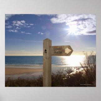 Sign post for coast path near beach, Gerrans