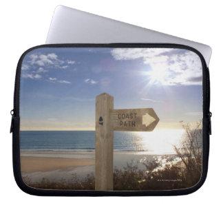 Sign post for coast path near beach, Gerrans Laptop Sleeve