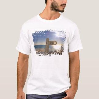 Sign post for coast path near beach, Gerrans T-Shirt