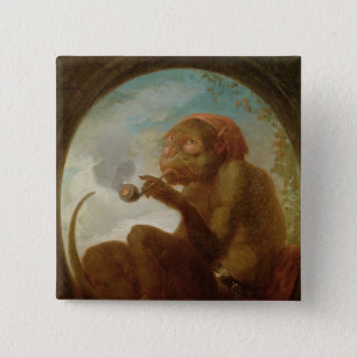 Sign with a monkey smoking a pipe 15 cm square badge