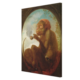 Sign with a monkey smoking a pipe canvas print