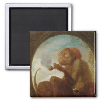 Sign with a monkey smoking a pipe square magnet