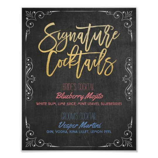 Signature Cocktail Drink Menu Wedding Decor Sign
