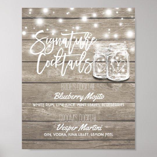 Signature Cocktail Drink Menu Wedding Decor Sign