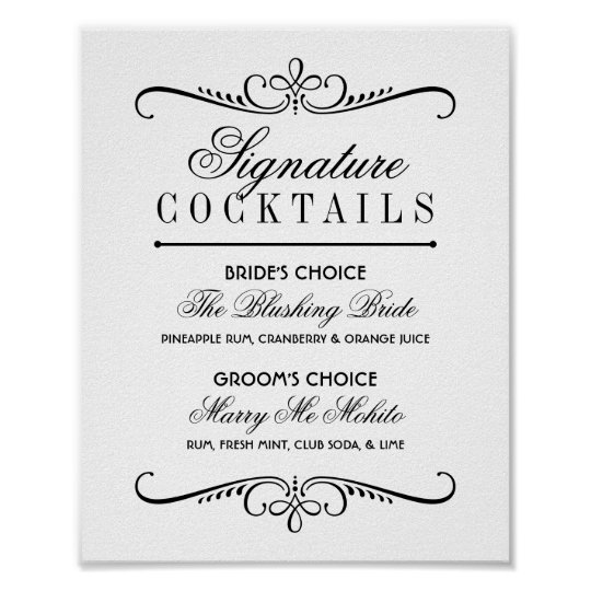 Signature Cocktails Poster Sign | Black and White