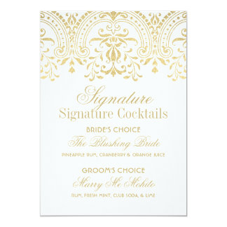 Signature Cocktails Sign | Gold Vintage Glamour 13 Cm X 18 Cm Invitation Card