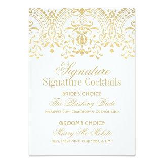 Signature Cocktails Sign | Gold Vintage Glamour 13 Cm X 18 Cm Invitation Card