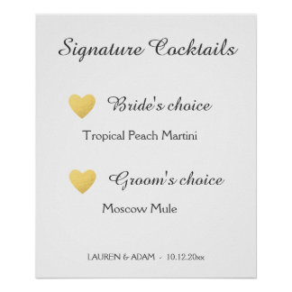 Signature Cocktails wedding sign, faux gold hearts Poster