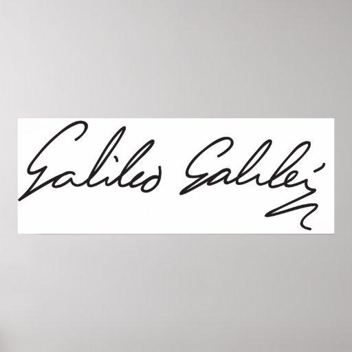 Signature of Astronomer Galileo Galilei Poster