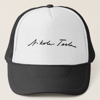 Signature of Electricity Genius Nikola Tesla Trucker Hat