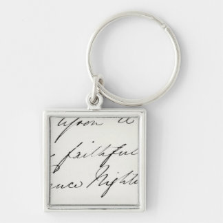 Signature of Florence Nightingale Silver-Colored Square Key Ring