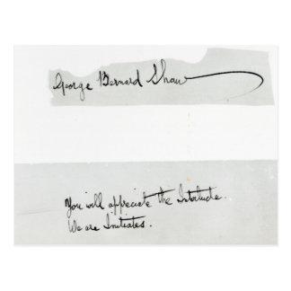 Signature of George Bernard Shaw Postcard