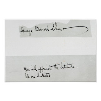 Signature of George Bernard Shaw Poster