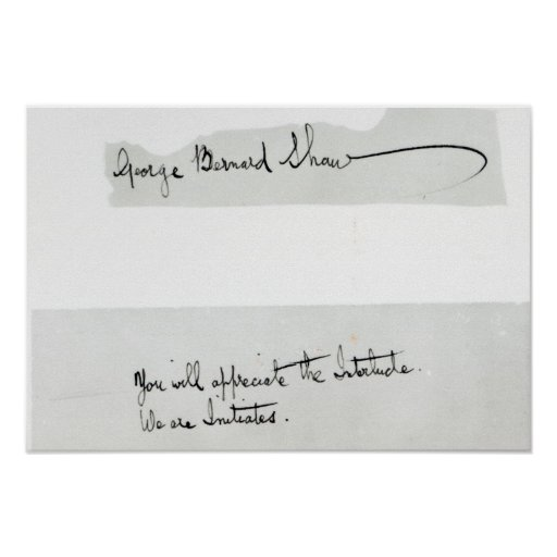 Signature of George Bernard Shaw Print