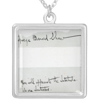 Signature of George Bernard Shaw Silver Plated Necklace