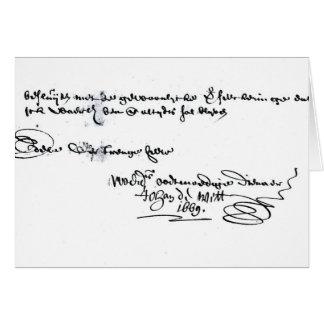 Signature of Johan de Witt Card