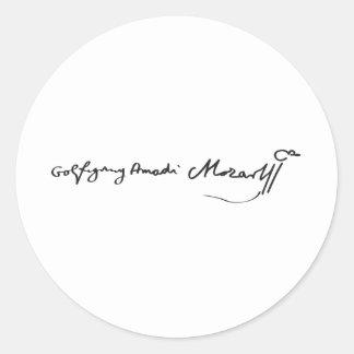 Signature of Musician Wolfgang Amadeus Mozart Round Sticker