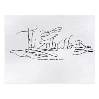 Signature of Queen Elizabeth I Postcard