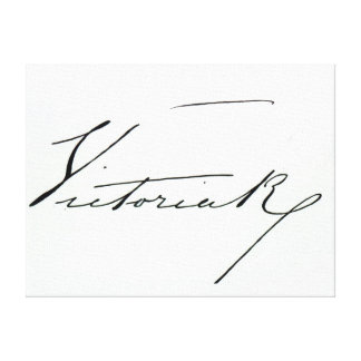 Signature of Queen Victoria (pen and ink on paper Canvas Print