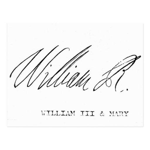 Signature of William III of England Post Cards