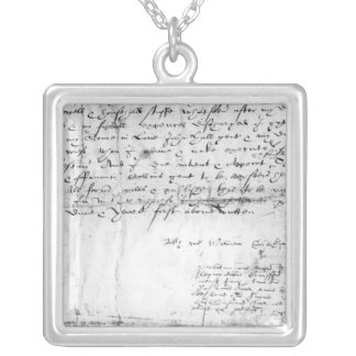 Signature of William Shakespeare , 1616 Silver Plated Necklace