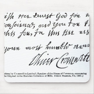 Signature Oliver Cromwell,from handwritten Mouse Mat