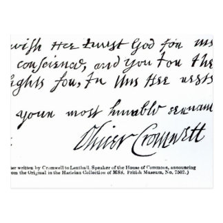 Signature Oliver Cromwell,from handwritten Postcard
