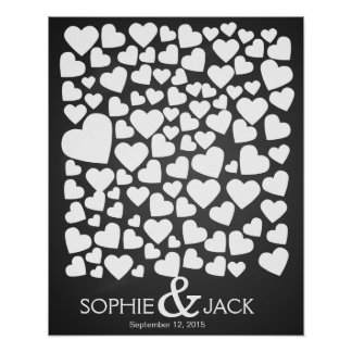 signature wedding guest book hearts signing poster