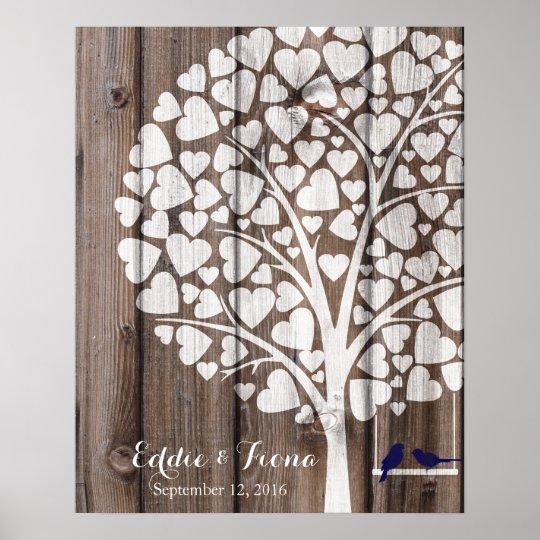 signature wedding guest book tree bird navy wood