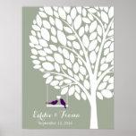 signature wedding guest book tree bird purple poster