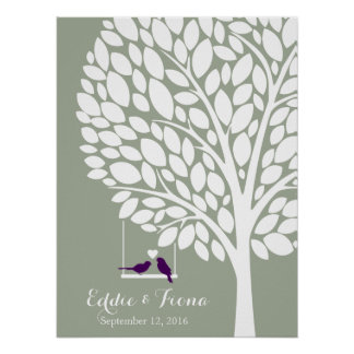 signature wedding guest book tree bird purple poster