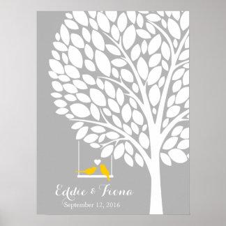 signature wedding guest book tree bird yellow