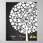 signature wedding guest book tree bird yellow poster