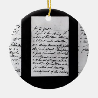 Signed letter, 1887 (pen and ink on paper) (b/w ph christmas ornament