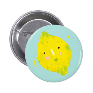 signing lemon 6 cm round badge