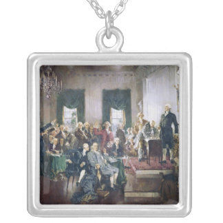 Signing of the Constitution by Howard C. Christy Square Pendant Necklace