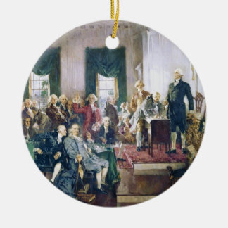 Signing of the Constitution by Howard C. Christy Round Ceramic Decoration