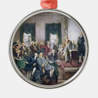 Signing of the Constitution by Howard C. Christy Silver-Colored Round Decoration