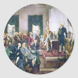 Signing of the Constitution by Howard C. Christy Round Stickers