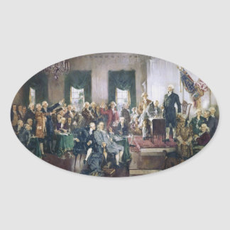 Signing of the Constitution by Howard C. Christy Oval Sticker