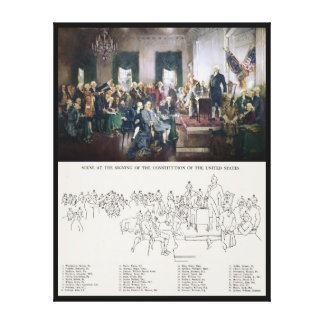 Signing of the Constitution with People Identified Gallery Wrap Canvas