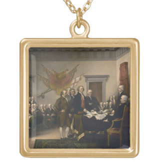 Signing the Declaration of Independence, July 4th Gold Plated Necklace
