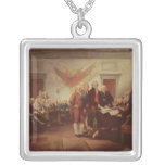 Signing the Declaration of Independence Silver Plated Necklace