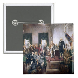 Signing the US Constitution by Christy 15 Cm Square Badge