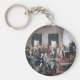 Signing the US Constitution by Christy Basic Round Button Key Ring
