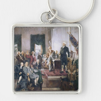 Signing the US Constitution by Christy Silver-Colored Square Key Ring