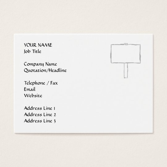 Signpost Notice. Grey and white. Business Card