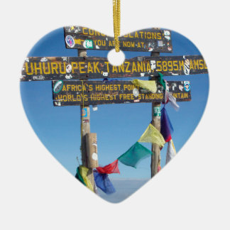 Signpost  on the  Summit of Kilimanjaro kenya Ceramic Heart Decoration